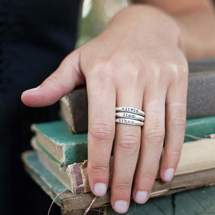 Stacking Name Rings 10K White Gold And Their Meaning By