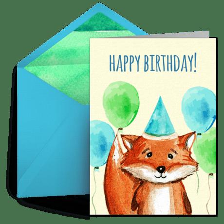 Birthday Fox Free Kids Happy Birthday ECard Greeting
