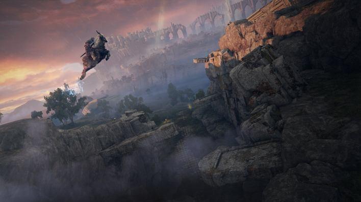 A warrior on a horse leaps high towards a cliff in an Elden Ring screenshot.