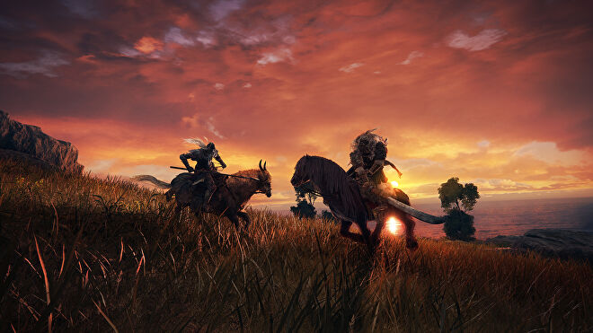 Two warriors on horseback charge towards each other with weapons ready in an Elden Ring screenshot.