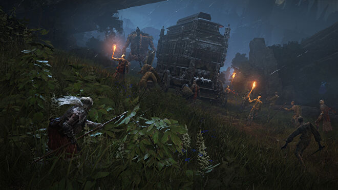Soldiers and zombies escort an ornate wagon pulled by a giant in an Elden Ring screenshot.