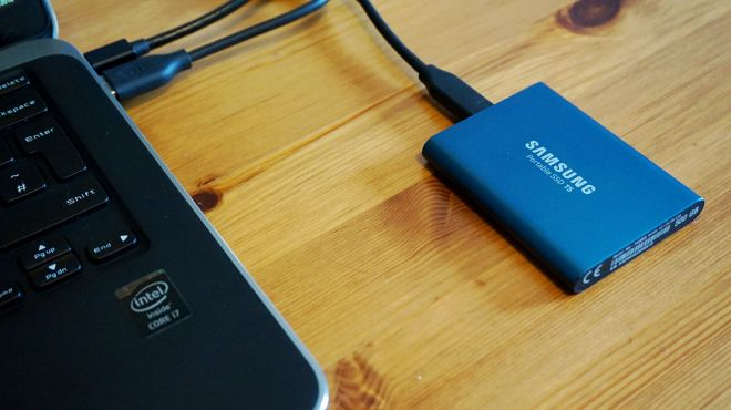samsung-t5-laptop Samsung's fast T5 portable SSD is down to £55 for 500GB, a historic low price | Rock Paper Shotgun
