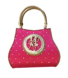 Buy Raw Silk Handbag with Round Tribal Brooch (Pink) handbag online