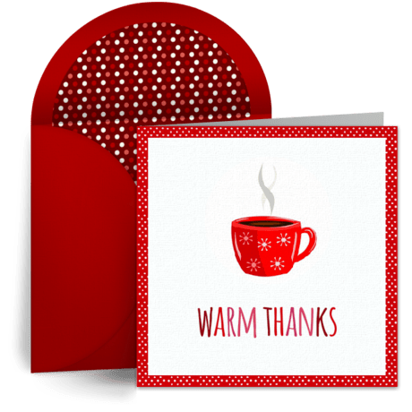 Cozy Warm Thanks Free Christmas Thank You Card Free