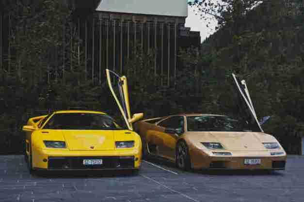 Two yellow Lamborghini Diablos