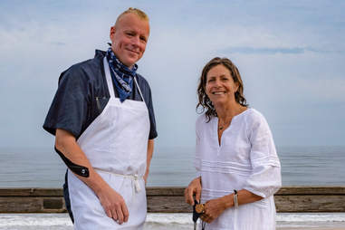 Chef Justin Smilie and restaurateur Donna Lennard of Il Buco at the Marram Hotel