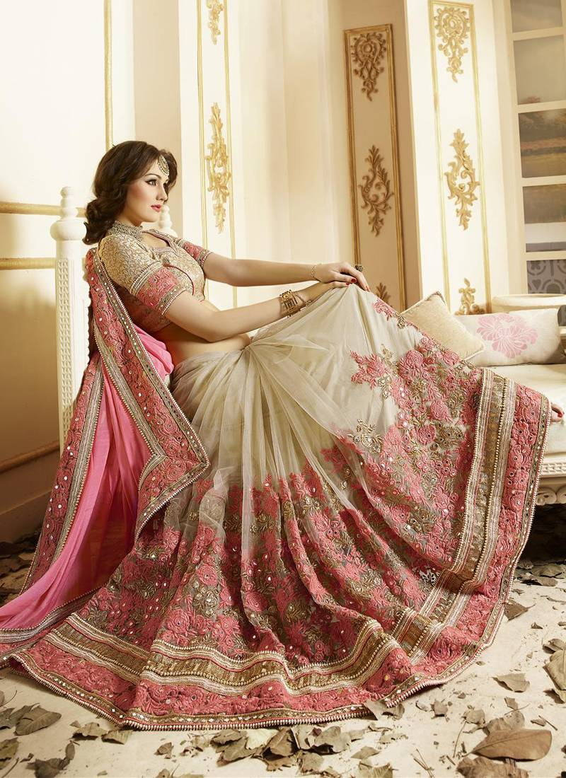 Buy Light Pink Embroidered Chiffon Saree With Blouse Online