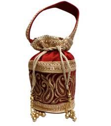 Buy Royal Raw Silk Batwa (Red) potli-bag online