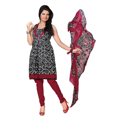 Florence Black And Red Cotton Printed Suit Dress Material