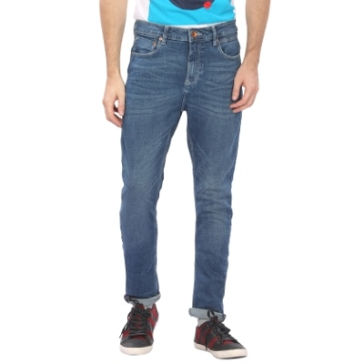 United Colors Of Benetton Carrot Fit Crushed Look Mid Wash Jeans