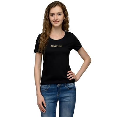 United Colors of Benetton Black COTTON Tshirt for Women