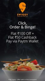 Flat Rs.100 Discount + Rs.50 Cashback on first ever transaction on Swiggy when you pay via Paytm Wallet