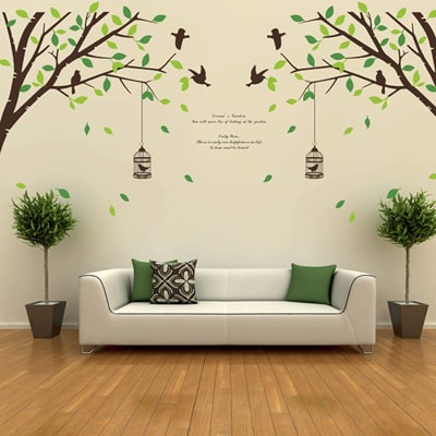 Home Decor Items     Shop Online Home Decor Items in India   Paytmmall com WallTola Falling Leaves Birds And Cage Double Sheet Wall Sticker
