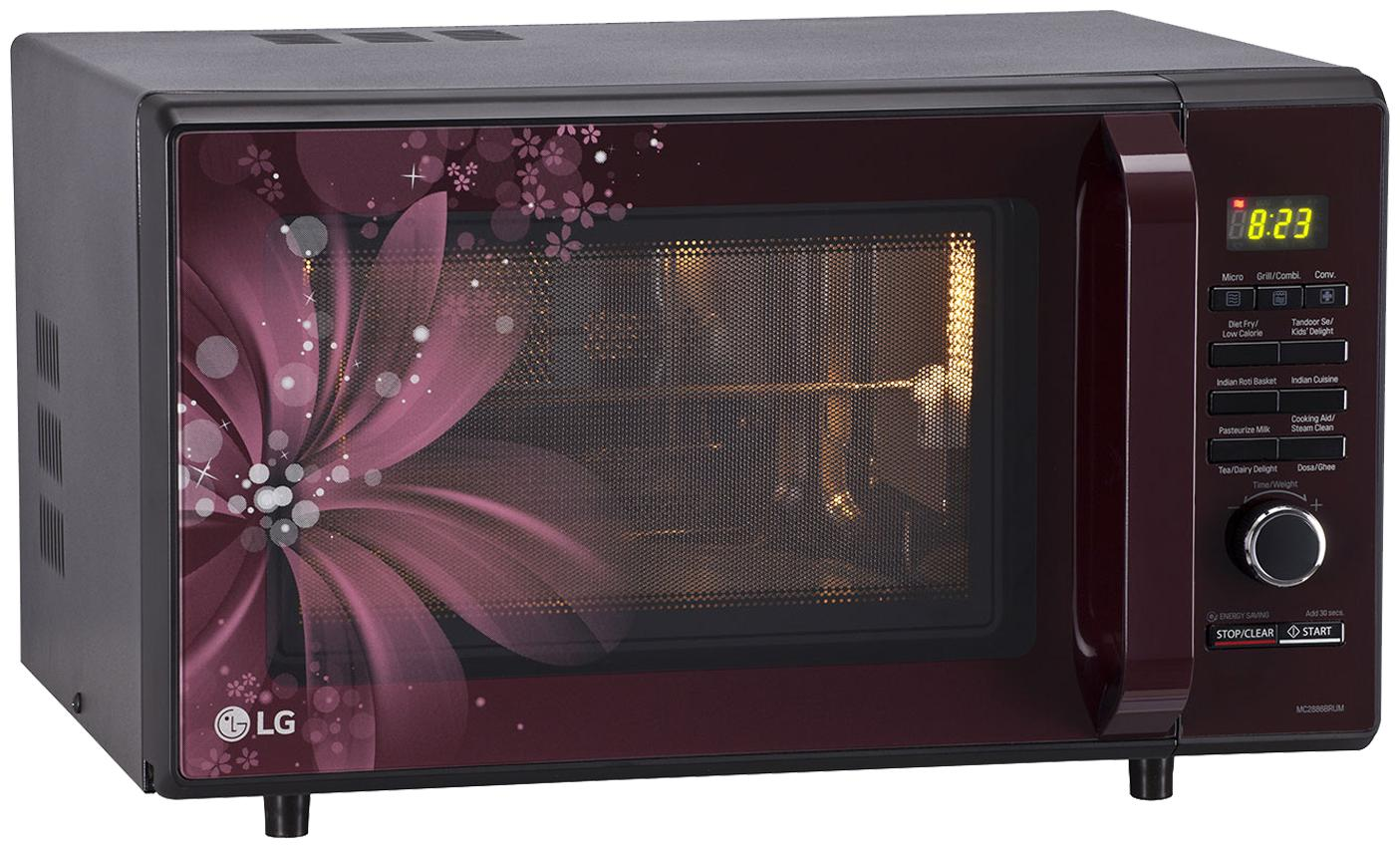 lg 28 l convection microwave oven mc2886brum black and maroon