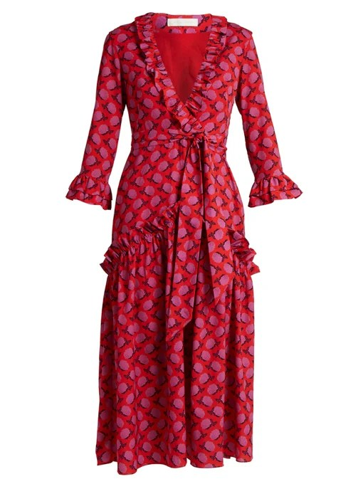 Borgo De Nor Ines Rose-print ruffle-trimmed crepe dress