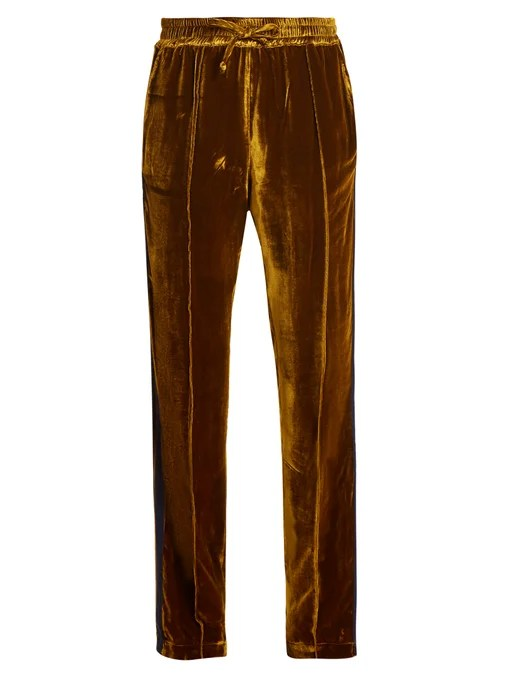 Serena Bute Contrast-striped straight-leg velvet trousers