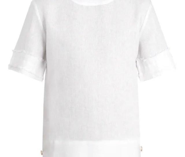 Hecho Fringed Linen T Shirt Mens White