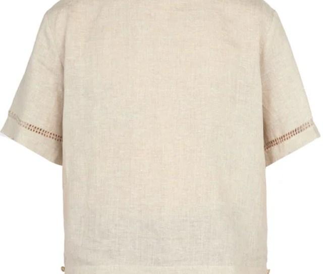 Hecho Deshilado Embroidered Linen T Shirt Mens Beige