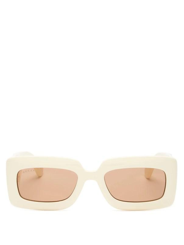 GG-logo quilted rectangular acetate sunglasses Gucci