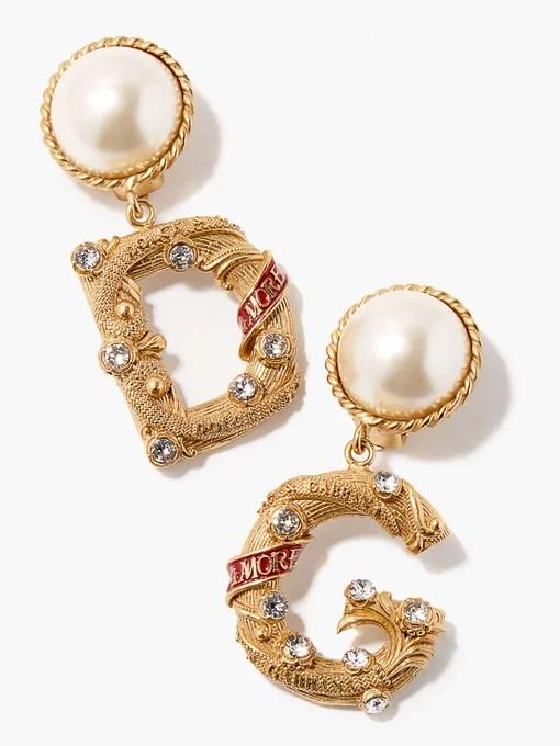 Dolce & Gabbana DG crystal-embellished clip earrings