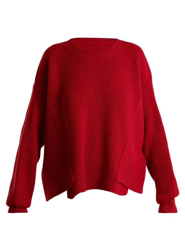 Asymmetric-hem ribbed-knit wool sweater, $795.0