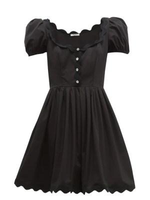 Miu Miu - Scallop-trim Cotton-poplin Mini Dress - Womens - Black