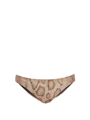 Mara Hoffman - Dori Snake-print Bikini Briefs - Womens - Cream Print