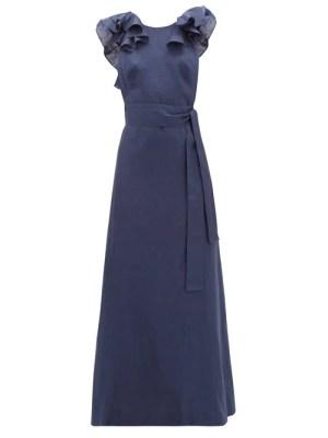 Kalita - Eros Waist-tie Ruffled Linen Maxi Dress - Womens - Navy