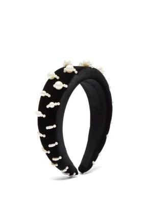 House Of Lafayette - Lili 1 Embellished Padded-velvet Headband - Womens - Black