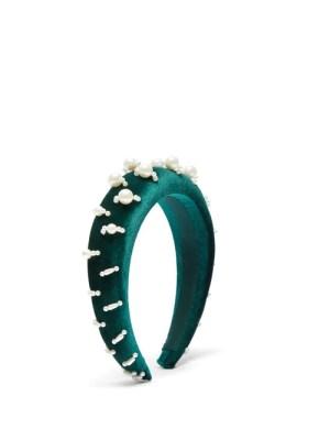 House Of Lafayette - Lili 1 Embellished Padded-velvet Headband - Womens - Green