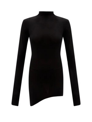 Lemaire - High-neck Asymmetric Cotton-blend Jersey Top - Womens - Black