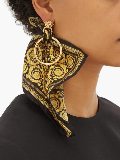 Designer Logo Earrings - Medusa head & baroque-print silk scarf earrings | Versace | MATCHESFASHION  JP