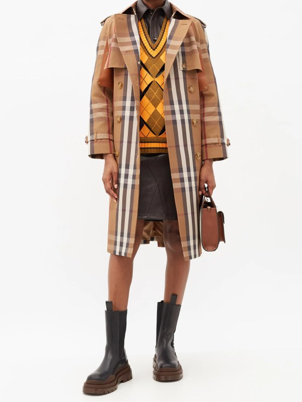 BURBERRY Leather-panel Vintage-check canvas trench coat