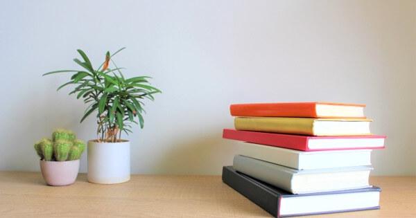 積まれた本と観葉植物