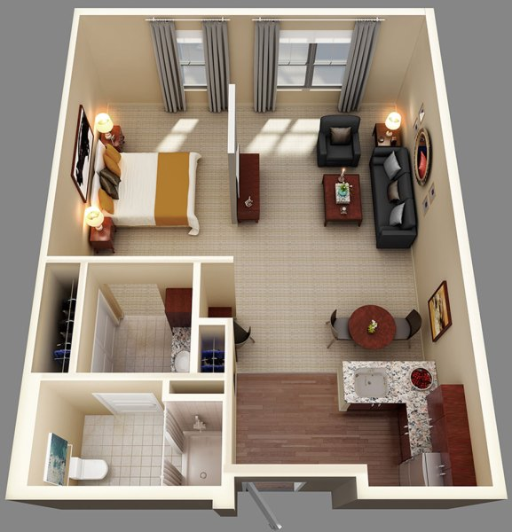 Assisted Living and Memory Care Suite Floor Plans   CHAL One Bedroom Suite