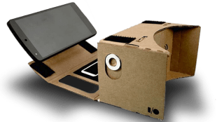 google cardboard with a phone enclosed