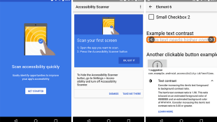 screenshots showing instructions on how to use accessibility scanner and the results it shows.