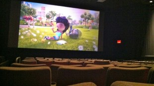 photo of a movie being shown at a movie theater. There are empty seats everywhere.