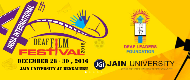 image shows logo of india international deaf film festival along with dates and location (28 - 30 december 2016 in benagluru, india)