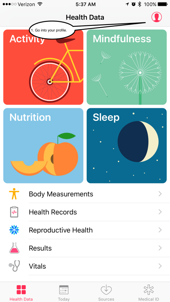 screenshot of first screen of health app. Click profile on the top right.