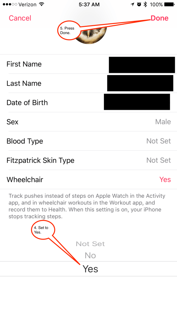 On the next screen, set Wheelchair to yes, and press done on the top right corner.