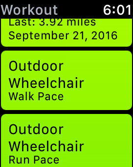 two wheelchair workout options displayed in the workout app on the apple watch.