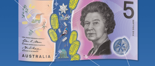 image shows the new Australian $5 note and describes all the new features - rolling color effect, top to bottom window, flying eastern spinebill, reversing 5, tactile feature, and federation star.