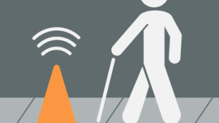animated photo of a blind man with a cane walking towards a traffic cone. The traffic cone is an abstraction in his path.
