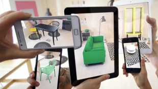 augmented reality furniture displayed on various electronic devices
