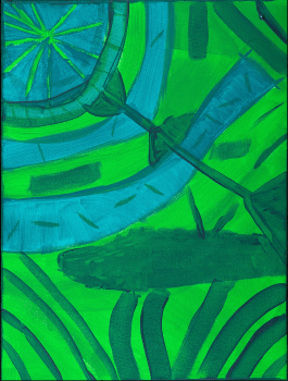 """painting titled """"Garden Map"""" by Chris Drake. This painting has patterns in green and blue, and looks like a garden."""