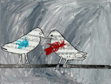 "painting titled ""melody love birds"" by genevieve hoover. This painting has two birds standing on what seems like a tree branch and facing each other. The birds are made of musical notes and the background of the painting is gray."
