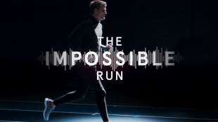 "Photo of Oscar, who is blind, is seen running straight on a track with the text ""The Impossible Run"" displayed in the middle."