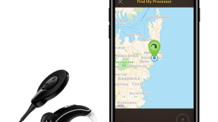 """Photo of Cochlear implant placed right next to an iPhone. On the iPhone is a """"find my phone"""" type of screen that shows a pin plotted on a map, indicating the cochlear implant's location."""