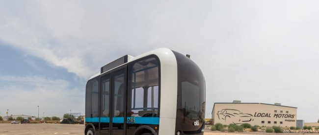 A photo of self driving bus Olli